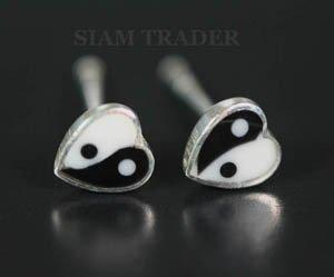 Sterling Silver Yin & Yang Heart - Bone & Onyx Stud Earrings AESS1949