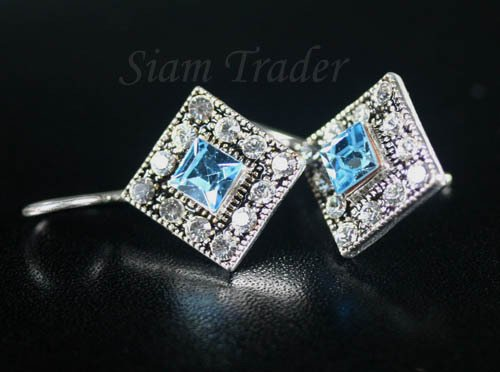 Sterling Silver Earrings w/ Aquamarine Swarovski Crystals YSS80