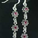 Sterling Silver Hanging Earrings w/ Pink Crystals YSS129
