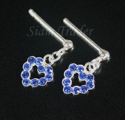 Sterling Silver Swarovski Sapphire Covered Heart Earrings XSS171