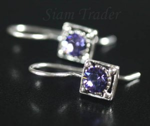 Sterling Silver Swarovski Amethyst Earrings YSS52