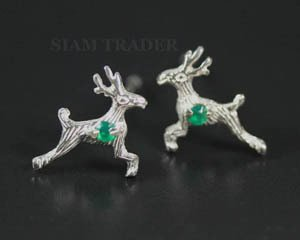 Sterling Silver Reindeer w/ Emeralds - Stud Earrings PSS576