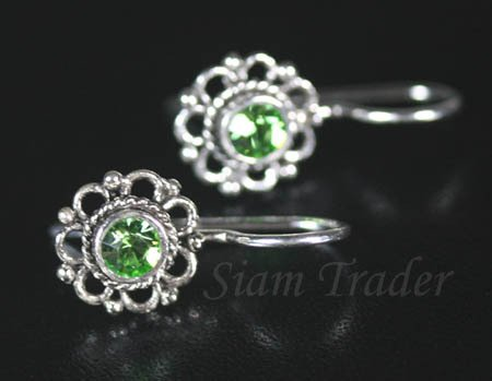 Sterling Silver Flower Earrings w/ Peridot Swarovski Crystal YSS55