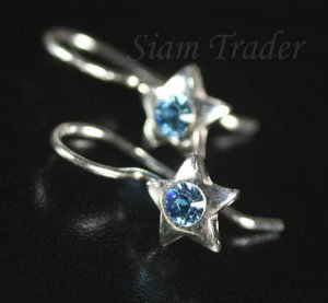 Sterling Silver Star w/ Swarovski Aquamarine Crystal Earrings YSS56