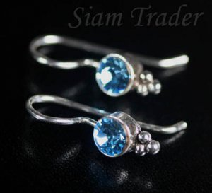 Sterling Silver Swarovski Aquamarine Crystal French Wire Earrings FHSS11