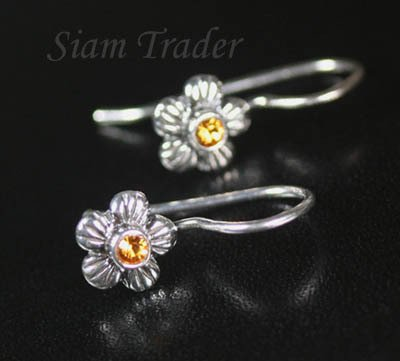 Sterling Silver Swarovski Topaz Flower Earrings  FHSS12