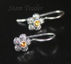 Sterling Silver Swarovski Topaz Flower Earrings  FHSS12
