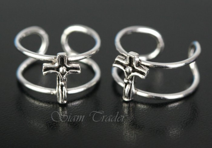 Sterling Silver Crucifix Ear Cuffs CSS317