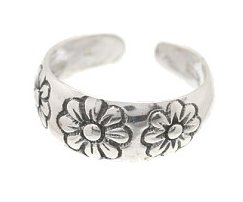 Sterling Silver Daisies Toe Ring TRSS11
