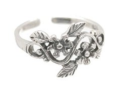 Sterling Silver- 2 Flowers - Toe Ring TRSS127