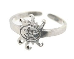 Sterling Silver - Smiling Sun - Toe Ring TRSS128