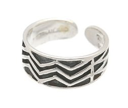 Sterling Silver - Crooked Lines - Toe Ring TRSS14