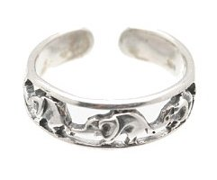 Sterling Silver - Elephant Chain - Toe Ring TRSS157