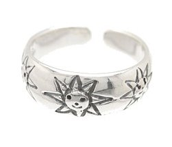 Sterling Silver - Etched Happy Suns - Toe Ring TRSS22