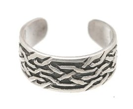 Sterling Silver - Thin Line Weave - Toe Ring TRSS26