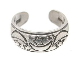 Sterling Silver - Etched Moons & Stars - Toe Ring TRSS27