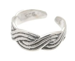 Sterling Silver - Flowing Braid - Toe Ring TRSS48