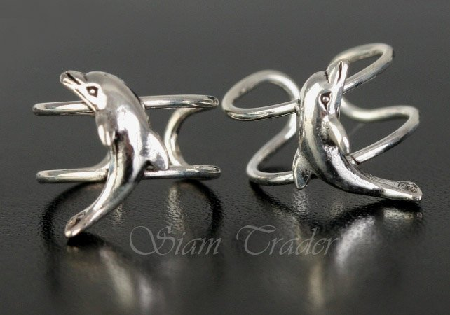 Sterling Silver Dolphin Ear Cuffs CSS286