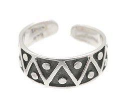 Sterling Silver - Triangles and Dots - Toe Ring TRSS7