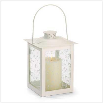 #37441 Large Ivory Color Glass Lantern
