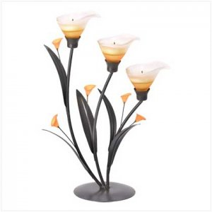 #38947 Amber Lilies Tealight Holder
