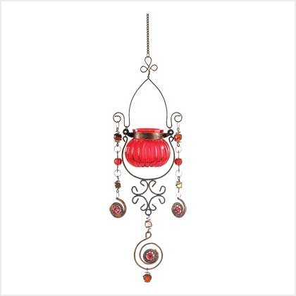 #38952 Red Jeweled Candleholder