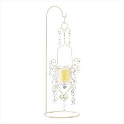 #39058 Vintage Crystal Drop Candle Holder