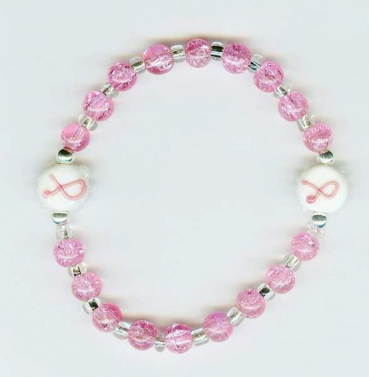 Pink Breast Cancer Ribbon Stretch Bracelet