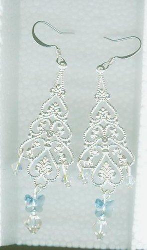 Silver Filigree Chandeliers with Light Sapphire Swarovski Butterflies