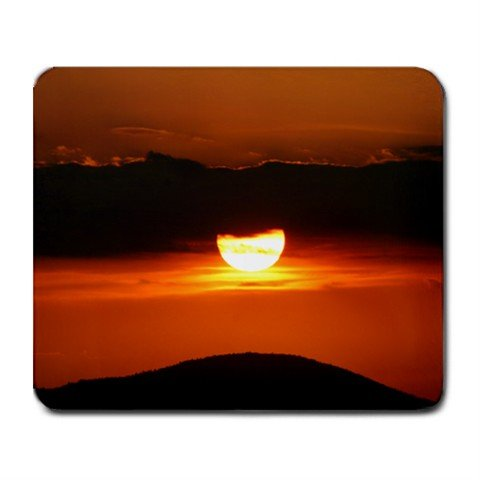 Mousepad Deep saturated colour sunset over mountain with clouds, very orange FREE SHIPPING