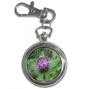 Pocket Watch Purple Thistle Scottish Flower