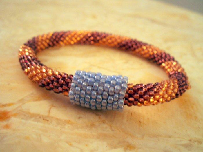 Czech Glass Bead Crochet Bracelet with Convertible Bead