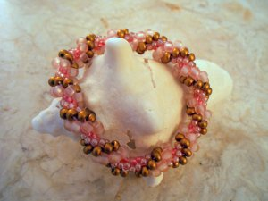 Pink and Gold Bead Crochet Bracelet