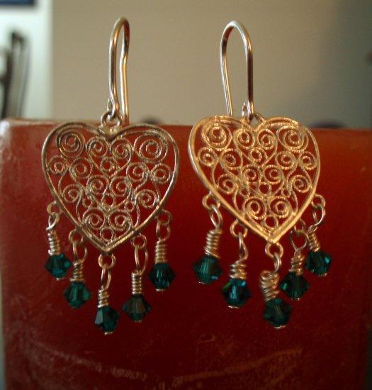 Wire Wrapped Heart Earrings