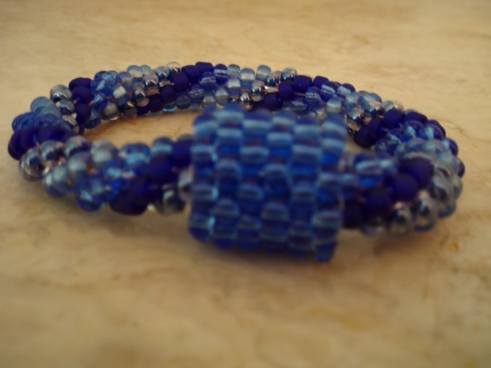 Blue Beaded Crochet Bracelet with Convertible Bead