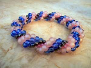 Pink and Blue Bead Crochet Bracelet
