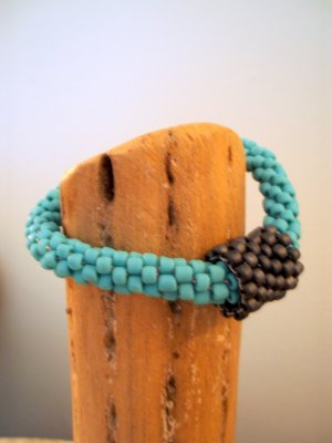Aqua Beaded Crochet Bracelet with Convertible Bead