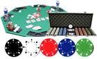 COMBO - 500PCS 11.5GRAM CASINO SIZE SUIT POKER CHIP SET + ALUM CASE + SOLIDWOOD FOLDING TABLE TOP