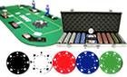 500PCS 11.5GRAM SUIT POKER CHIPS + ALUMINUM CASE + TEXAS HOLD EM FOLDING TABLE TOP