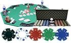 300PCS 11.5GRAM CASINO SIZE DICE POKER CHIP SET + ALUM CASE + SOLIDWOOD FOLDING TABLE TOP