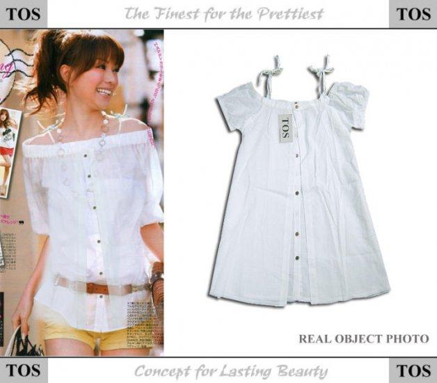 Horizon Collar Cotton Shirt One Piece White Summer Top