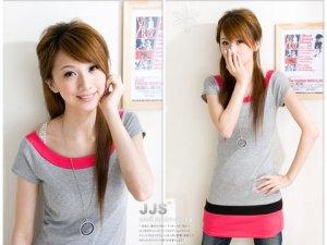 Korean Style Cute Colors Trendy Long Gray Blouse