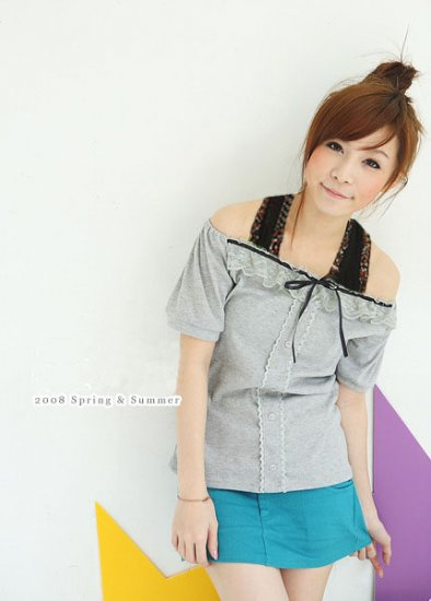 Korean Japan Eye Catching Grey Spring and Summer Top
