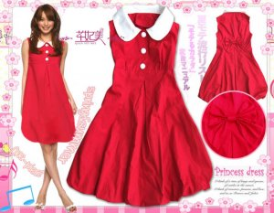 Stunning Japan / Korean Red Dress With Bowknot