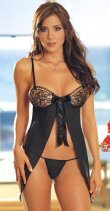 2 Piece Open Back Babydoll Set Black Medium
