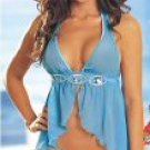 2 Piece Blue Halter Babydoll Set Medium New