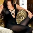 Opaque Bodystocking with Criss Cross Rhinestone Trim New