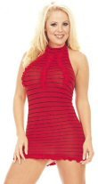 Striped Red Halter Mini Dress New