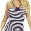Small Striped Mini Halter Dress With Ribbon New