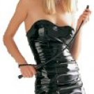 Shiny Black Vinyl Tube Dress Large New